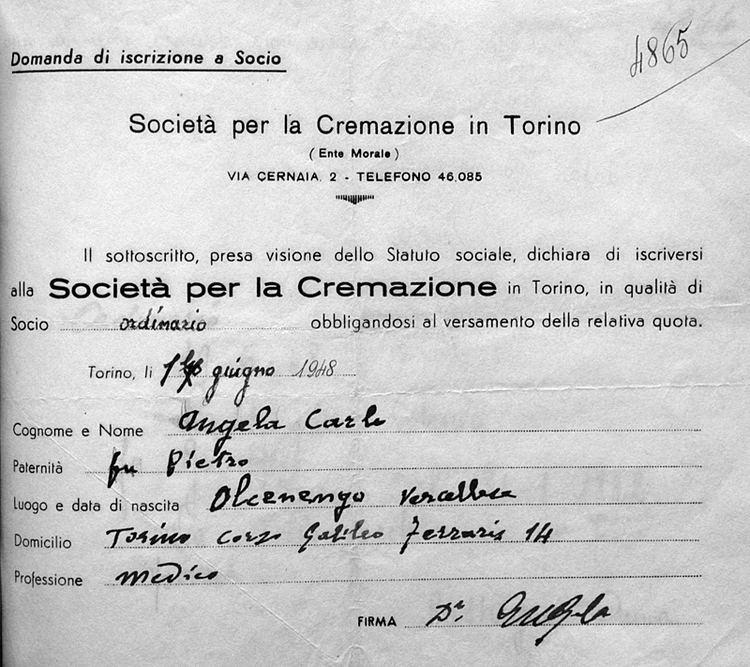Carlo Angela Societ per la Cremazione di Torino Profilo Personale