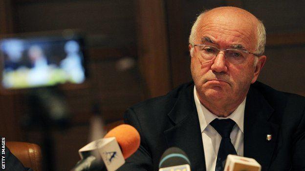 Carlo Tavecchio BBC Sport Carlo Tavecchio Italian FA president banned