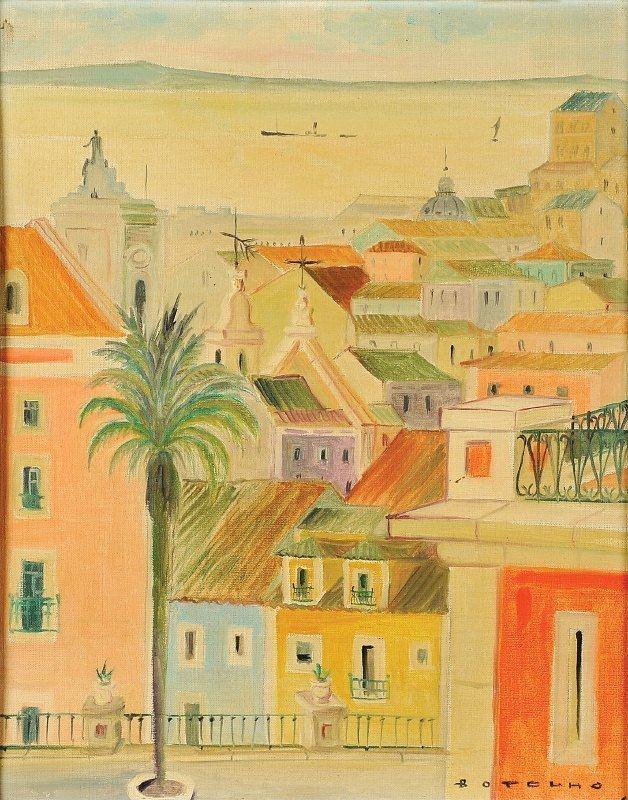 Carlos Botelho Vista de Lisboa Tejo e topo do arco da Rua Augusta