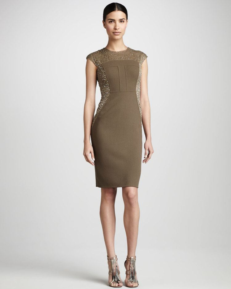 Carmen Marc Valvo carmenmarcvalvocouturecamelbeadpanelcocktaildressproduct14670408655554960jpeg