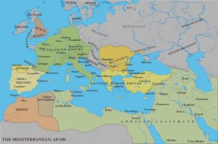 Carolingian Empire Europe and the Mediterranean c 840 height of Carolingian empire