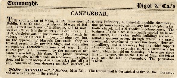 Castlebar in the past, History of Castlebar