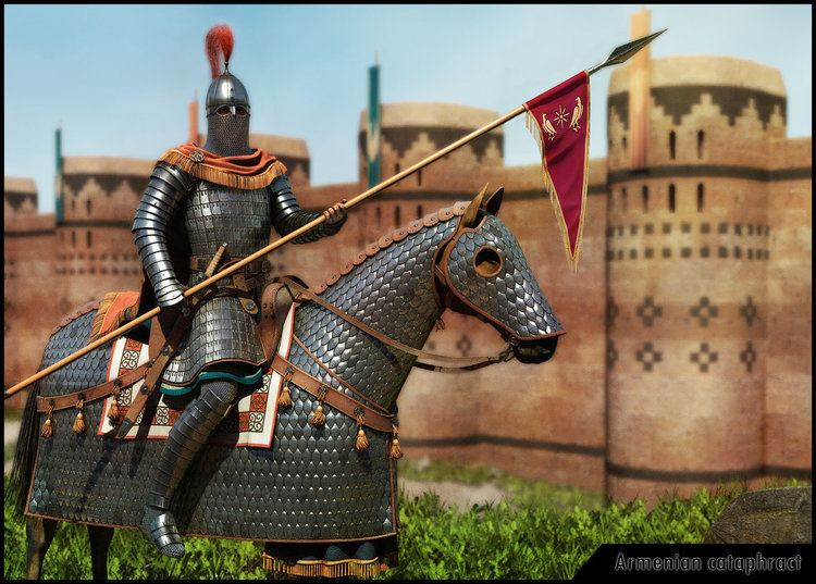Cataphract riding a horse outside the castle