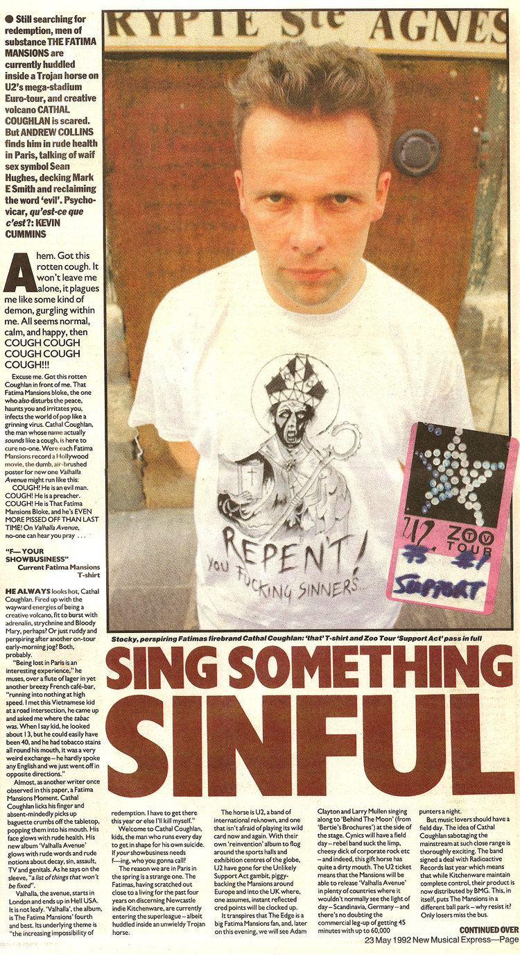 Cathal Coughlan (singer) Sean Hughes amp Cathal Coughlan Fatima Mansions NME May