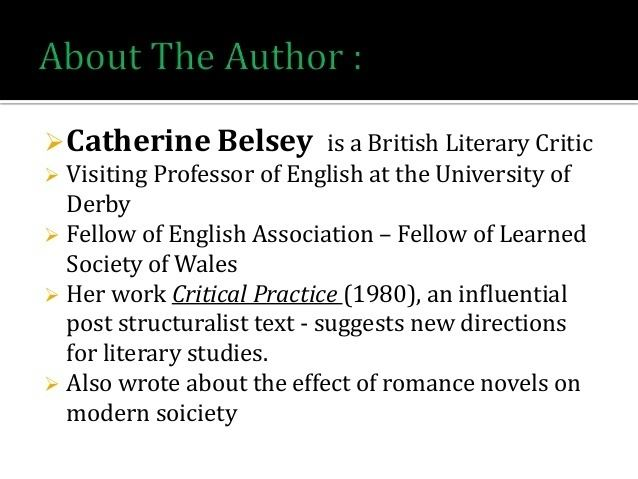 Catherine Belsey Addressing the subject Catherine Belsey