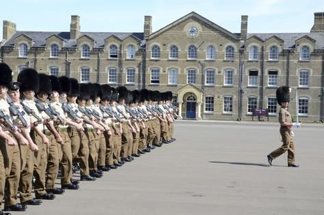 Cavalry Barracks, Hounslow 1st Battalion Welsh Guards on the Drill Square at Cavalry Barracks