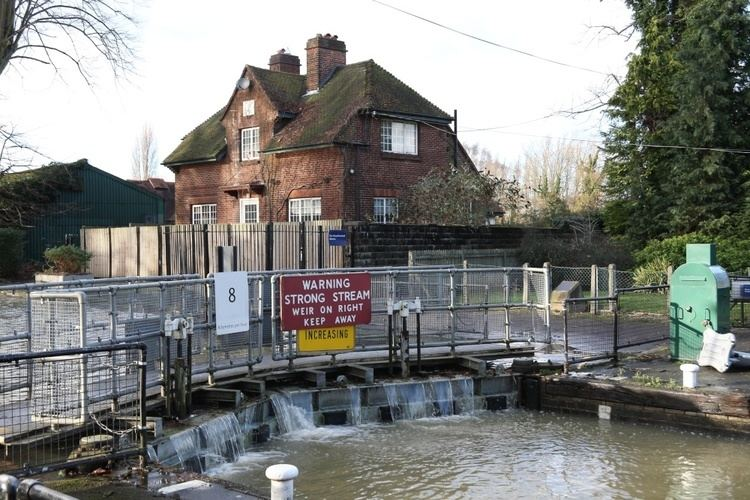 Caversham Lock Caversham Lock with river in floodquot by Edward Lever at