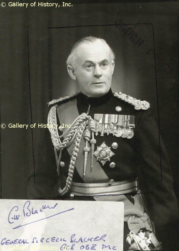 Cecil Blacker General Cecil Blacker Signatures Autographs Manuscripts