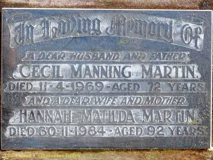 Cecil Manning Cecil Manning MARTIN 18961969 Mid North Coast Pioneers