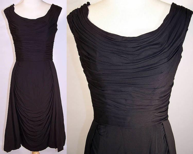 Ceil Chapman Ceil Chapman Sexy Wiggle Pleated Drape Black Cocktail Dress