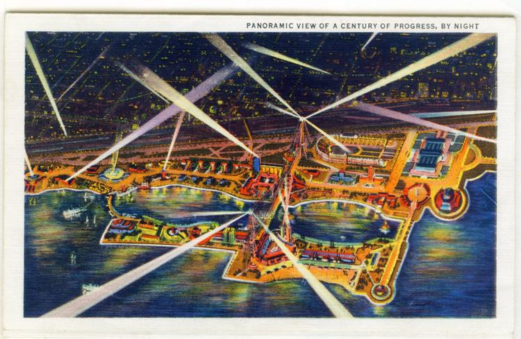 Century of Progress Chicago Postcard Museum Century of progress at Night Foldout Postcard