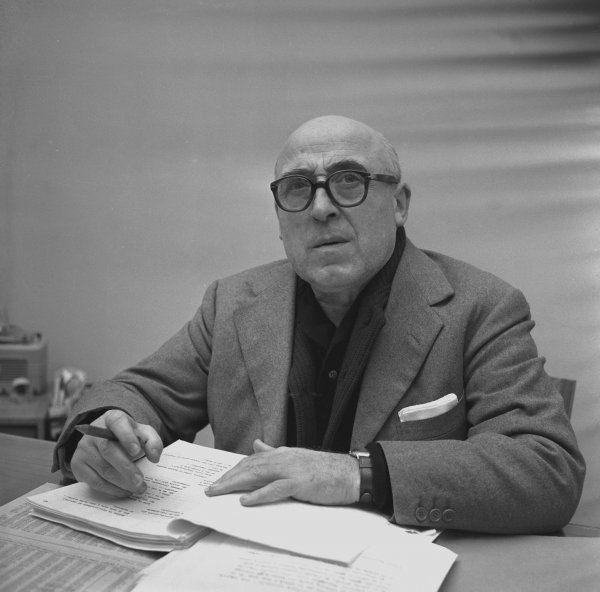 Cesare Zavattini The screenwriter Cesare Zavattini at work in his house