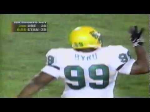 Chad Hutchinson Oregon Dt Desmond Byrd sacks Stanford QB Chad Hutchinson 9271997