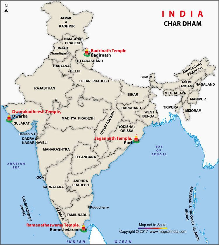 Char Dham Char Dham Yatra and Location Map of Char Dham of India