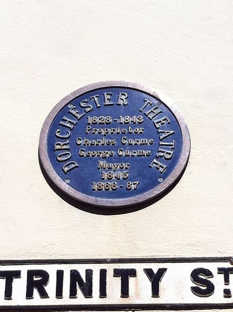 Charles Curme Dorchester Theatre Charles Curme and George Curme blue plaque
