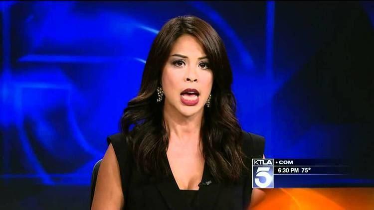 Cher Calvin Cher Calvin KTLA reporter wearing a sexy blouse