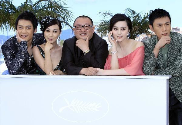 Chongqing Blues Cast of Chinese movie Chongqing Blues meet press in Cannes