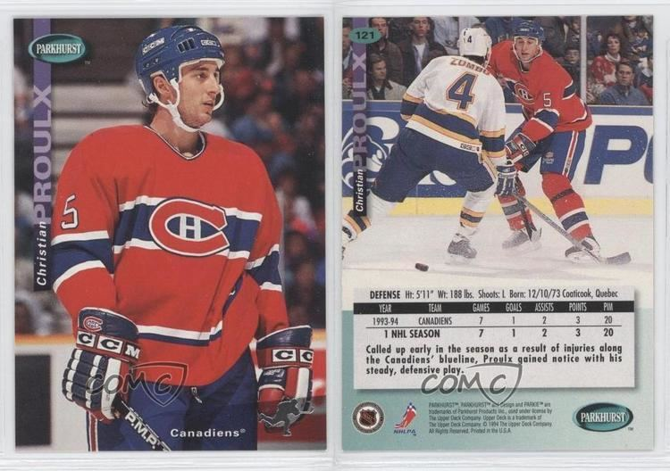 Christian Proulx 199495 Parkhurst 121 Christian Proulx Montreal Canadiens RC Rookie