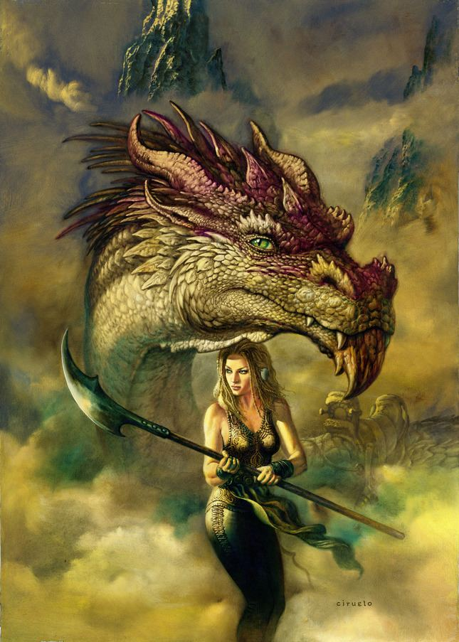 Ciruelo Cabral Infected By Art The Amazon and her Dragon by Ciruelo