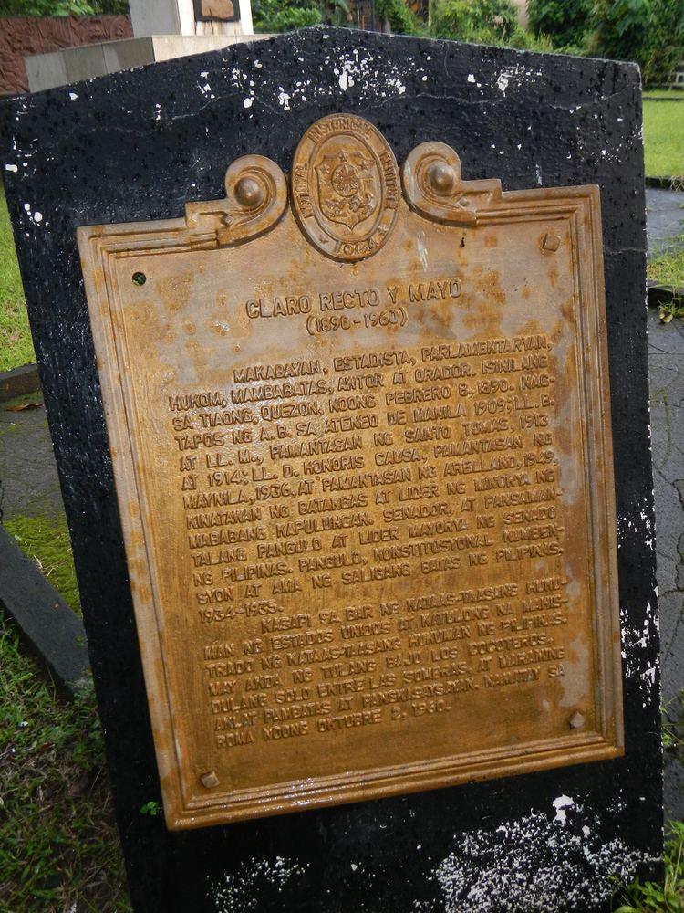 Claro M. Recto FileClaro M Recto historical marker in Tiaong Quezonjpg