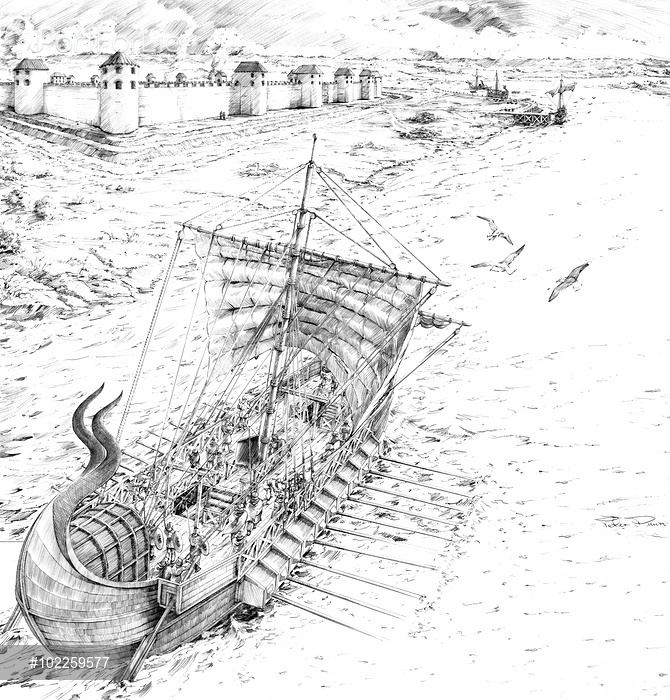 Classis Britannica Portchester Castle Hampshire Reconstruction drawing by Peter Dunn