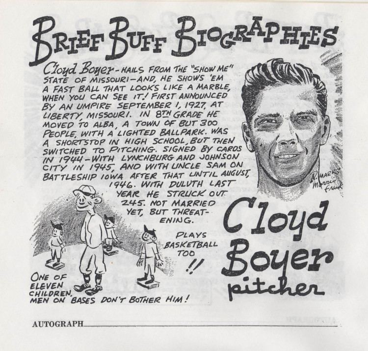Cloyd Boyer Buff Biographies Cloyd Boyer The Pecan Park Eagle