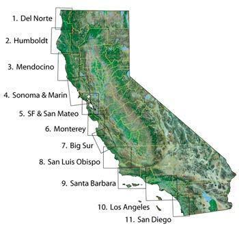Coastal California Bluewater Maps of Coastal California