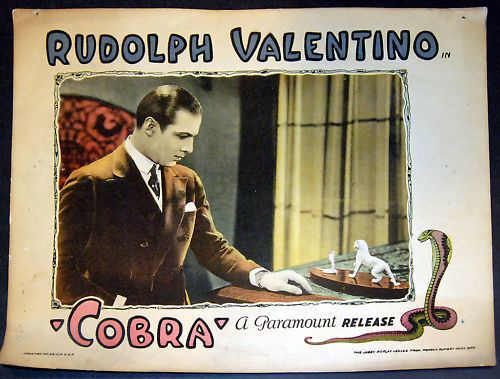 Cobra (1925 film) Rudolph Valentino Collectibles Lobby Card from the Film Cobra