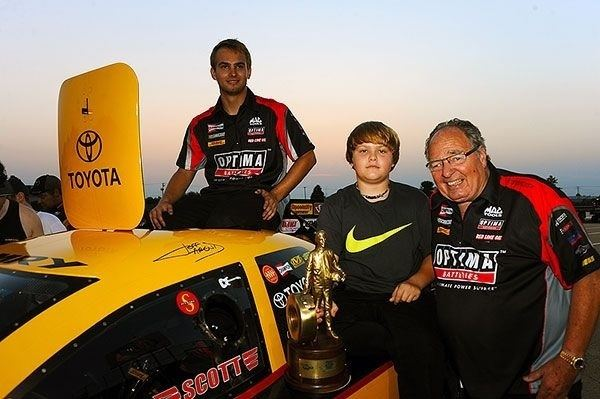 Connie Kalitta Corey and Colin Kalitta celebrate in Chicago winners circle with