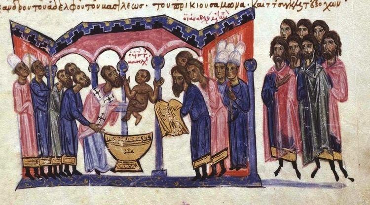 Constantine VII FilePatriarch Nicholas Mystikos baptizes Constantine VII