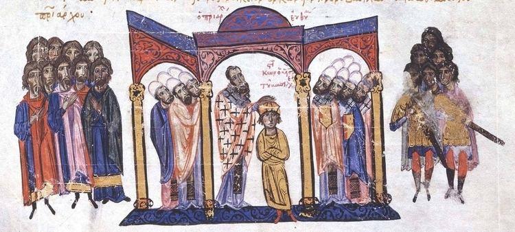 Constantine VII FileCoronation of Constantine VII as coemperor in 908jpg