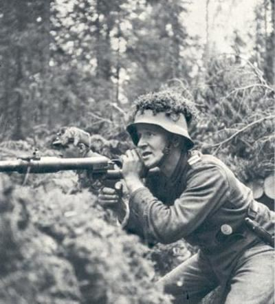 Continuation War Finnish soldier in his position during Continuation War Note the