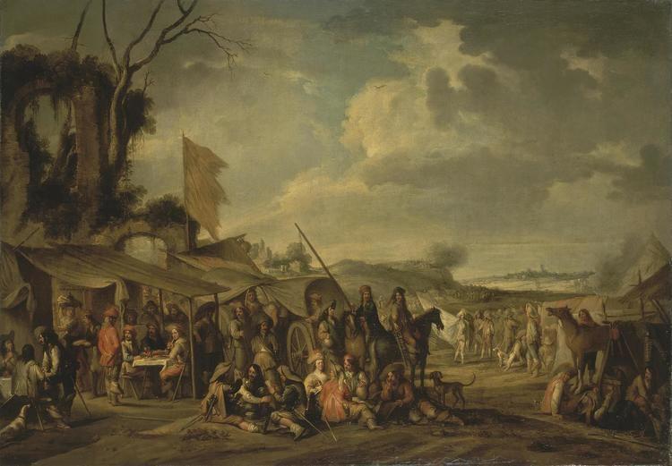 Cornelis de Wael FileCornelis de Wael A Camp by the Ruins WGA25413jpg