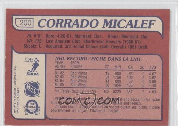 Corrado Micalef 198586 OPeeChee 200 Corrado Micalef COMC Card