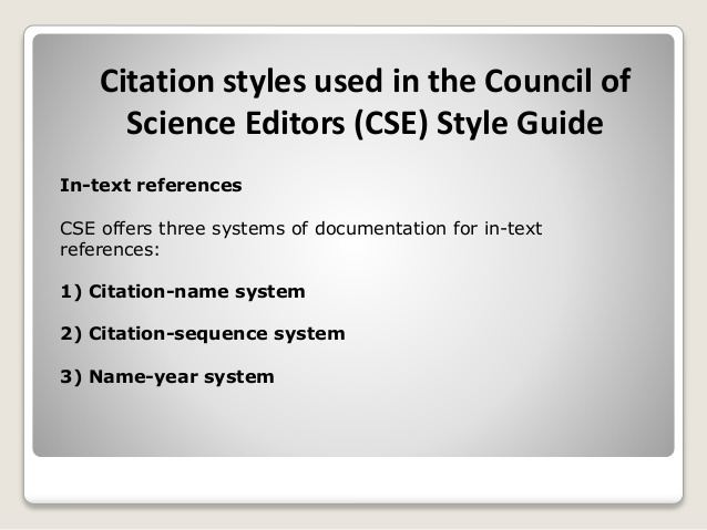 cse scientific style and format