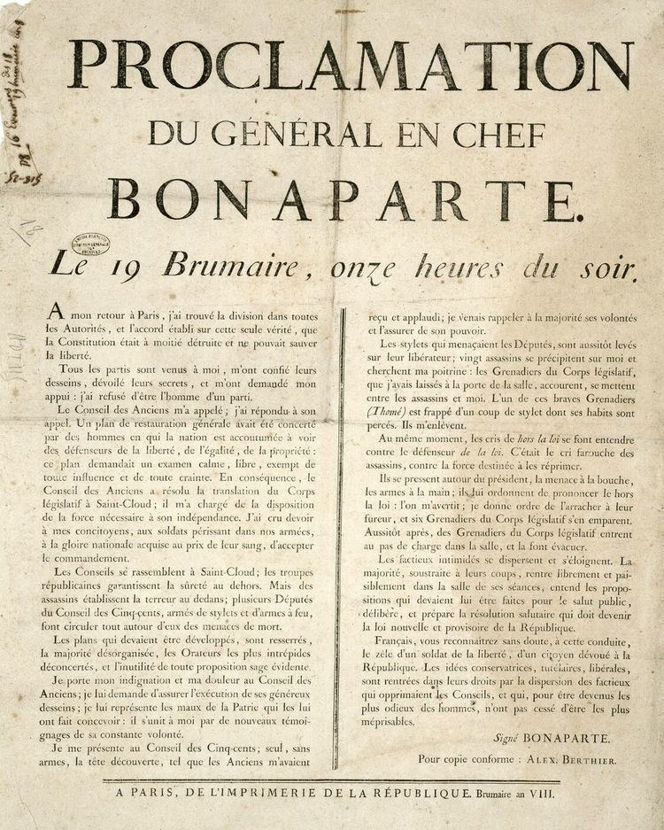 Coup of 18 Brumaire Clio39s Lessons French Revolution Coup of 18 Brumaire and quotThe