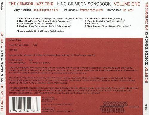 Crimson Jazz Trio King Crimson Songbook Vol 1 The Crimson Jazz Trio Songs