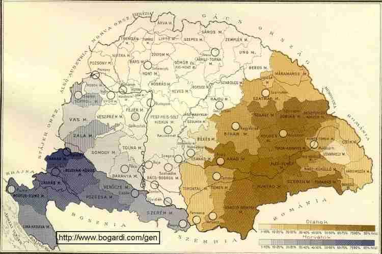 Croats Hungary Ratio of Romanians and of Croats 1900