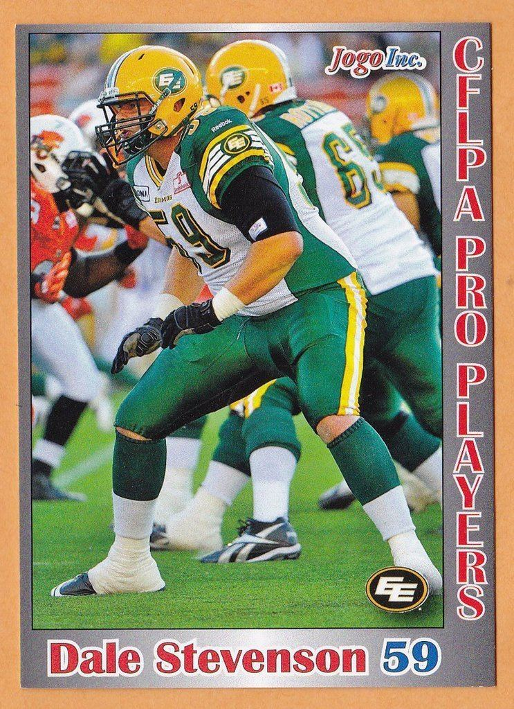 Dale Stevenson (Canadian football) Dale Stevenson CFL card 2012 Jogo Pro Player 54 Edmonton Eskimos
