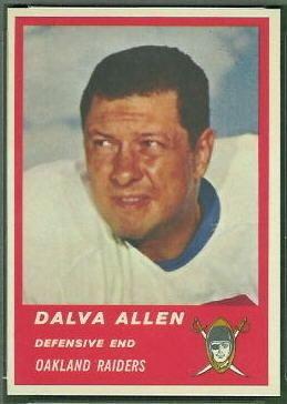 Dalva Allen wwwfootballcardgallerycom1963Fleer65DalvaAl