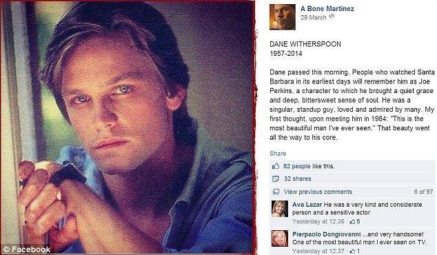 Dane Witherspoon Robin Wrights first husband and Santa Barbara costar Dane