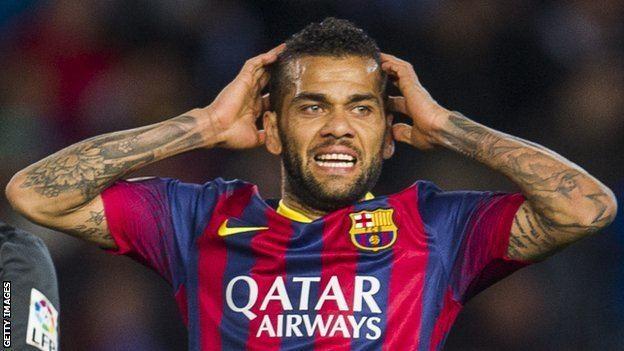 Dani Alves BBC Sport Dani Alves Barcelona defender eats banana