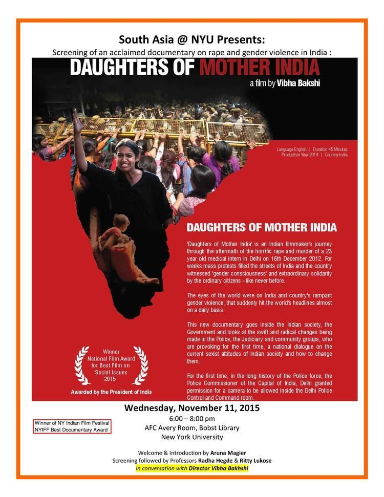 Daughters of Mother India South Asia at NYU Upcoming Events Vibha Bakshi Daughters of