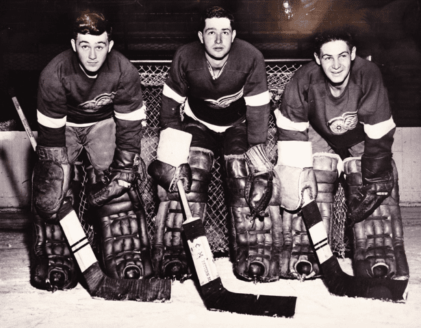 Dave Gatherum Dave Gatherum Glenn Hall Terry Sawchuk Detroit Red Wings 1954