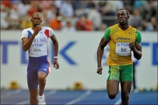 David Alerte Mondiaux d39athltisme Usain Bolt et David Alerte en