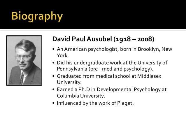 David Ausubel Subsumption theory bydavidpaulausubel