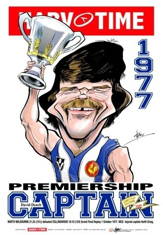 David Dench 1977 Premiership Captains Print David Dench Kangaroos HarvTime