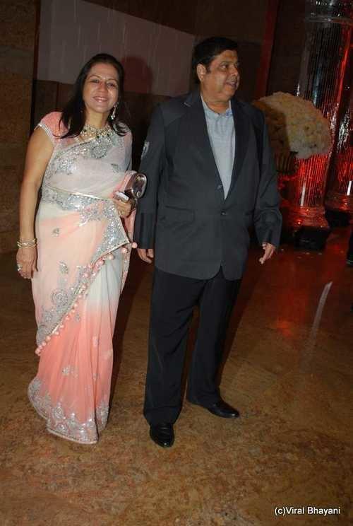 David Dhawan David Dhawan with wife at Shilpa Shettys wedding reception