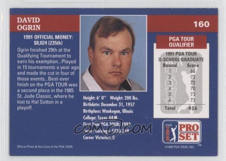 David Ogrin 1992 Pro Set Golf Base 160 David Ogrin COMC Card Marketplace
