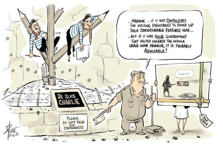 David Pope (cartoonist) Julie Bishop presents David Pope cartoon to Charlie Hebdo staff in